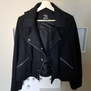 Wool blend charcoal moto jacket with hood